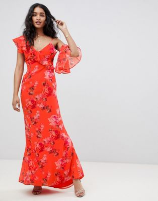 Hope & Ivy Asymmetric Ruffle Shoulder Detail Maxi Dress In Floral Print