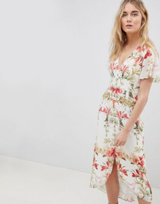 Hope & Ivy Button Front Flutter Sleeve Midi Dress In Mirrored Floral Print