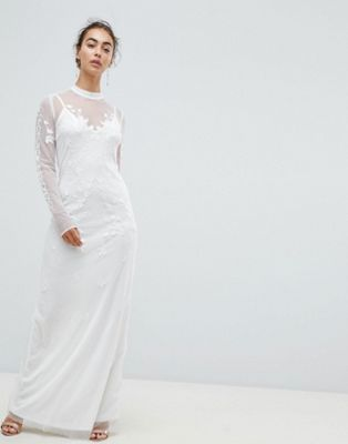 Hope & Ivy Dotty Mesh Maxi Bridal Dress With Embroidery And High Neck Detail