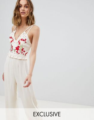 Hope & Ivy Embroidered Jumpsuit With Strappy Back