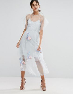 Hope & Ivy Embroidered Mesh Midi Skater Dress