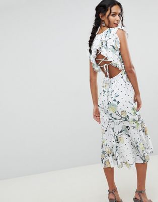 Hope & Ivy Floral Printed Open Back Ruffle Detail Midi Dress
