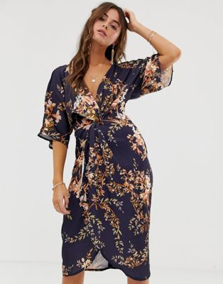 Hope & Ivy Kimono Sleeve Midi Dress With Knot Front Detail In Floral Print