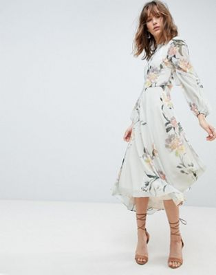 Hope & Ivy Long Sleeve Printed Dress With Lace Trim And Ruffle Open Back Detail