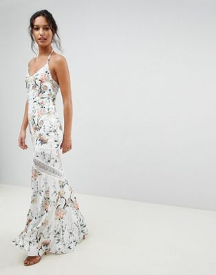 Hope & Ivy Mirrored Floral Printed Crochet Insert Maxi Dress