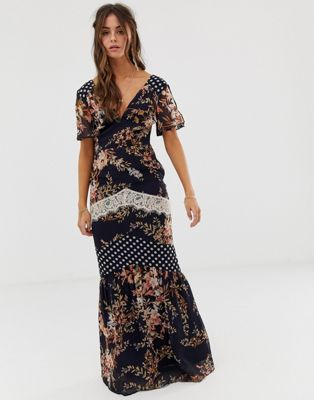 Hope & Ivy Mix And Match Printed Maxi Dress With Lace Trim Detail