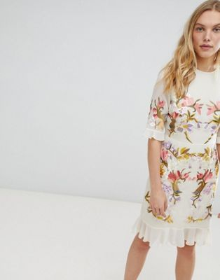 Hope & Ivy Premium All Over Floral Embroidered Mini Dress