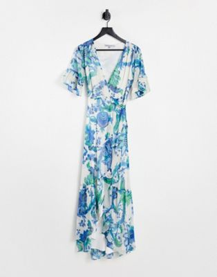 Hope & Ivy bridesmaid cold shoulder cowl neck maxi dress in ivory based floral - ASOS Price Checker