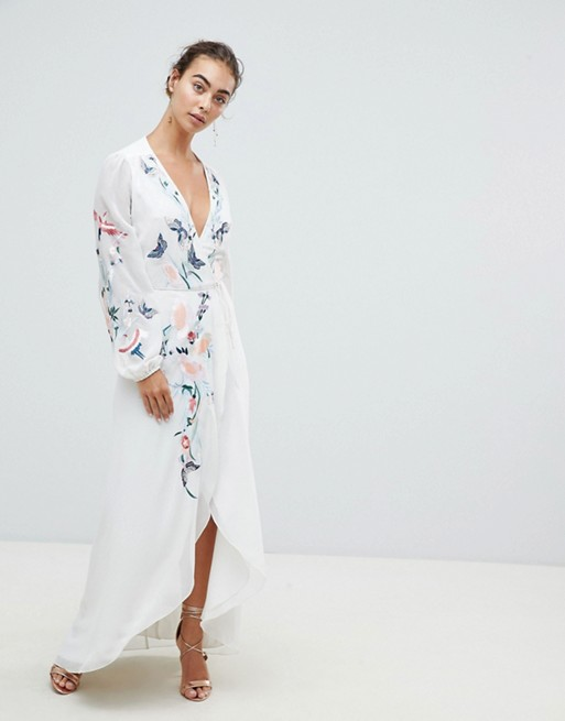 Image 1 of Hope & Ivy Wrap Front High Low Maxi Dress With Floral Embroidery
