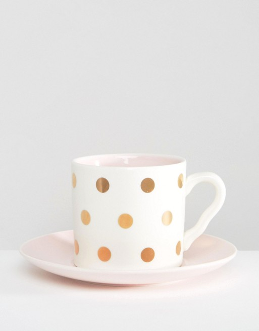 House of Disaster Cat Polka Dot Cup and Saucer