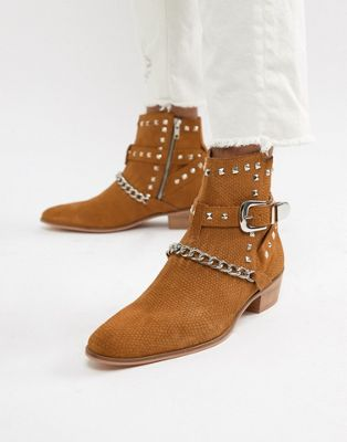 Image 1 of House Of Hounds Jasper studded cuban boots in tan snake print suede
