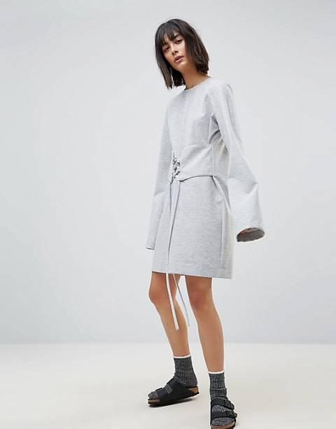 House Of Sunny – Langärmliges T-Shirt-Kleid mit Taille im Korsettstil