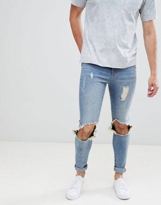 Hoxton Denim – Slitna, tvättade jeans i muscle fit-modell