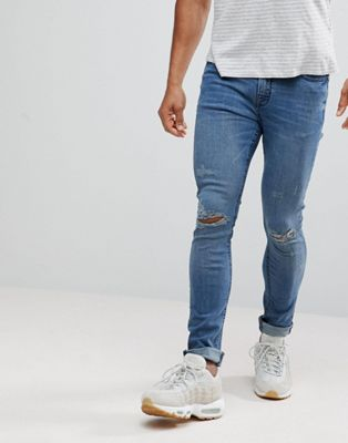 Hoxton Denim - Superskinny jeans in middenblauw