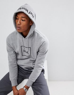 HUF Box Logo hoodie with hood print in grey