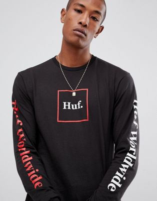 HUF Domestic box logo long sleeve t-shirt with sleeve print in black