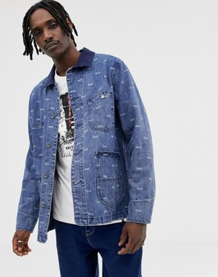 Image 1 of HUF Domestic Denim Jacket With All Over Logo Print