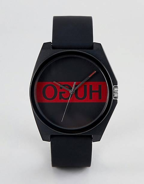HUGO 1520015 Play logo dial silicone strap in black