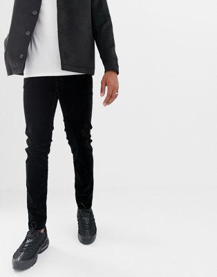 HUGO 734 skinny fit velvet jeans in black