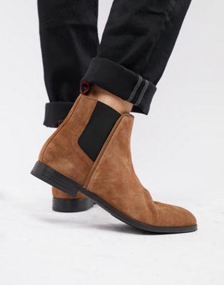 HUGO - Boheme - Chelsea boots van suède in lichtbruin