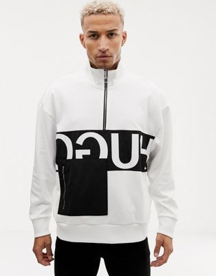 Image 1 of HUGO Darrius half zip reverse logo sweat in white