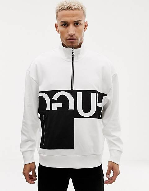 HUGO Darrius half zip reverse logo sweat in white