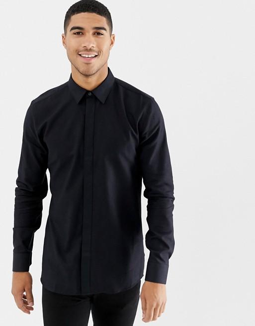 Bild 1 von HUGO – Elisha – Sehr schmales, glitzerndes Hemd in Schwarz