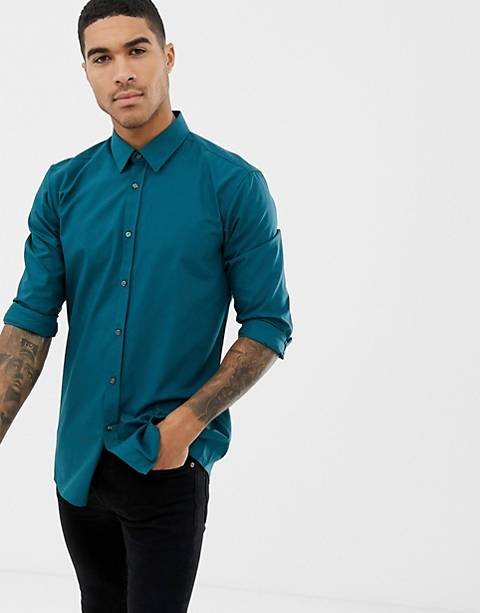 HUGO Elisha01 extra slim fit poplin shirt in green