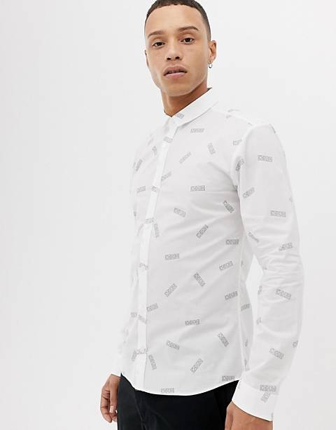 HUGO Ero3-W extra slim fit all over logo shirt in white