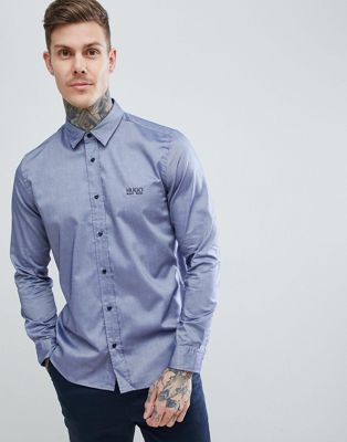 HUGO Evroy-Logo Embroidered Logo Oxford Shirt in Navy