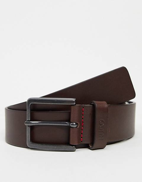 HUGO Gionio leather belt in brown