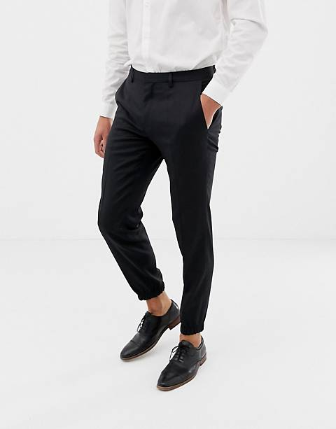 HUGO Taylor slim fit cuff hem dress pants in black