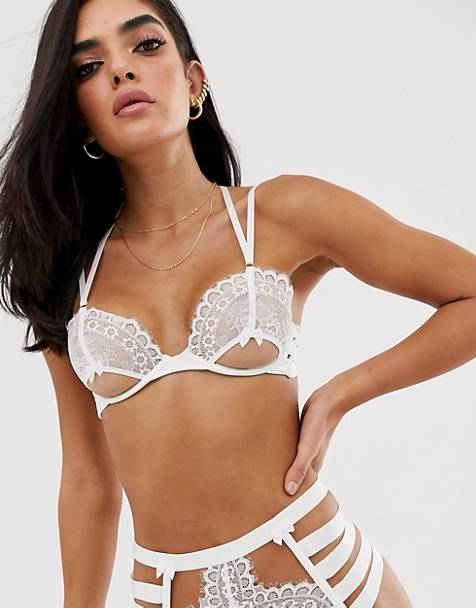 2870187a9 Hunkemoller Peaches cut-out lace underwire bra in off white