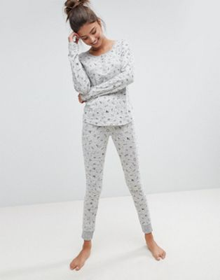 Image 1 of Hunkemoller Rebellious Love Scribble Pyjama Set