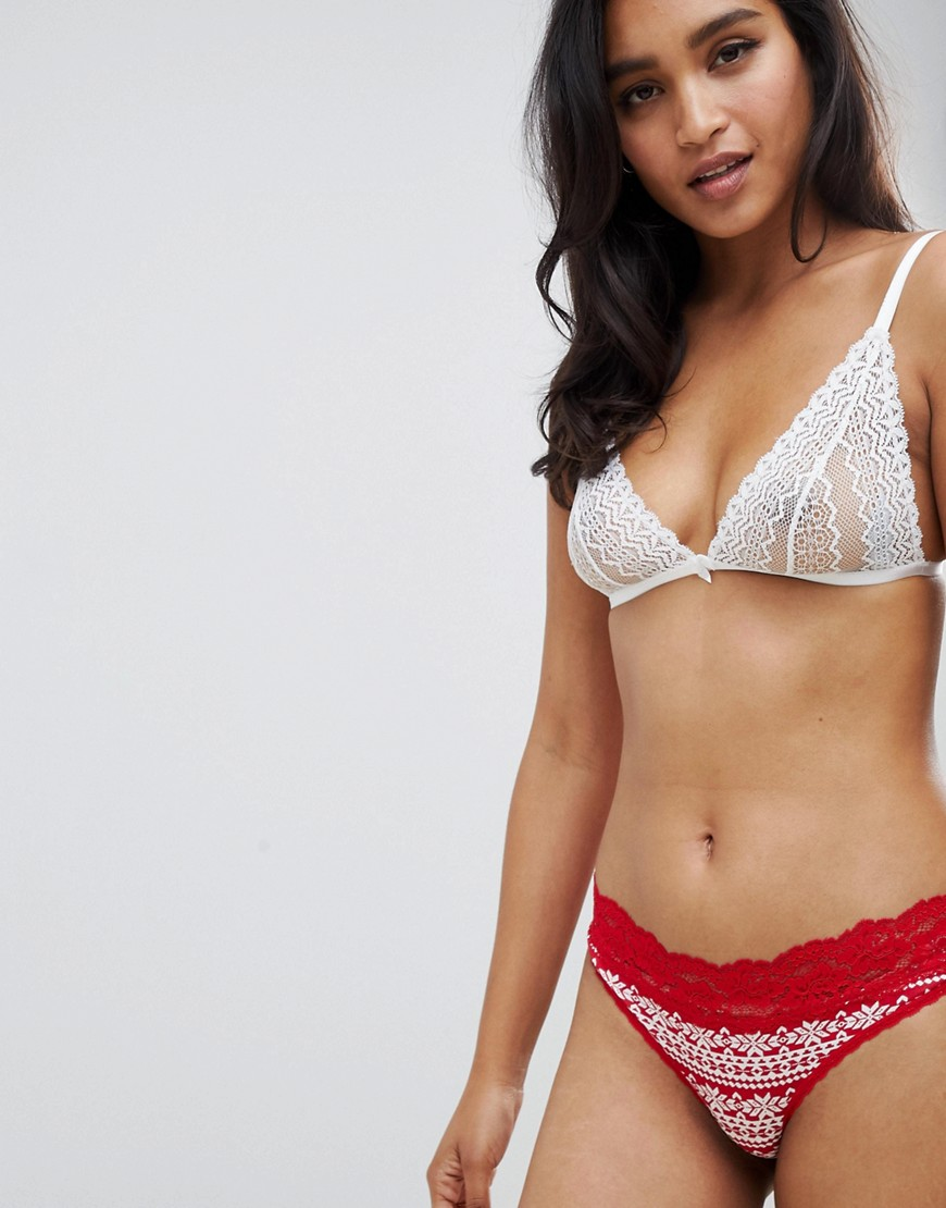Hunkermoller Fundies Fairisle Cotton Brief In Red by Hunkemöller