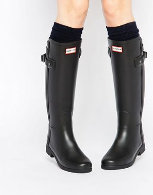 Hunter Original Refined Back Strap Black Gumboots