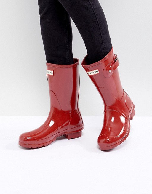 2ee580d9b8d Hunter Original Short Gloss Military Red Ankle Boots
