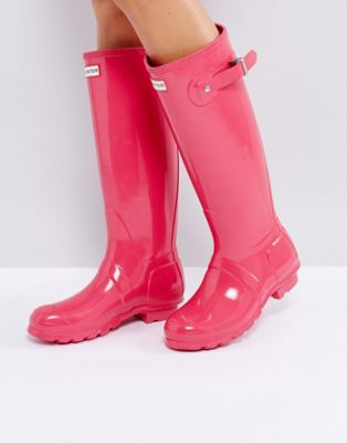 Hunter Original Tall Bright Pink Gloss Gumboots
