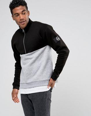 Hype Sweatshirt In Black With Half Zip Funnel Neck