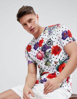 Hype - T-shirt attillata con motivo misto a fiori e a pois
