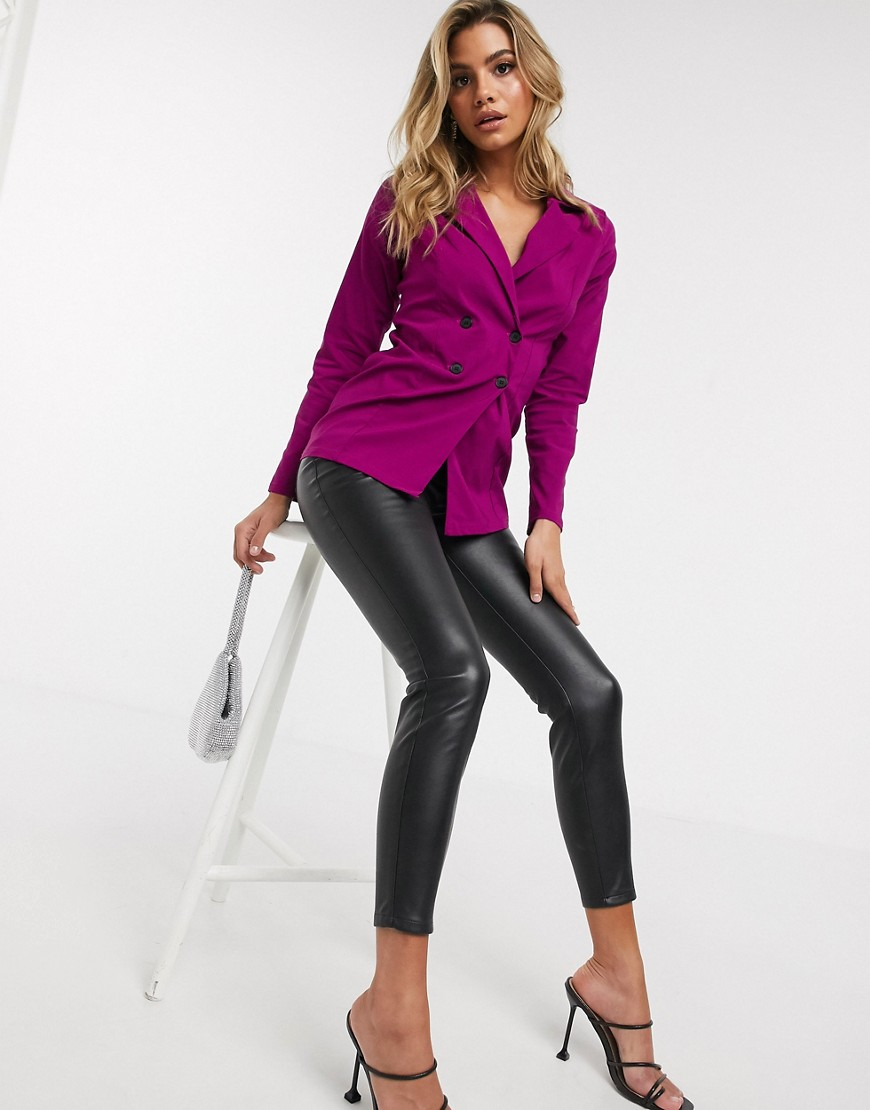 I Saw It First - Fuschiafarvet dobbeltradet blazer-Pink