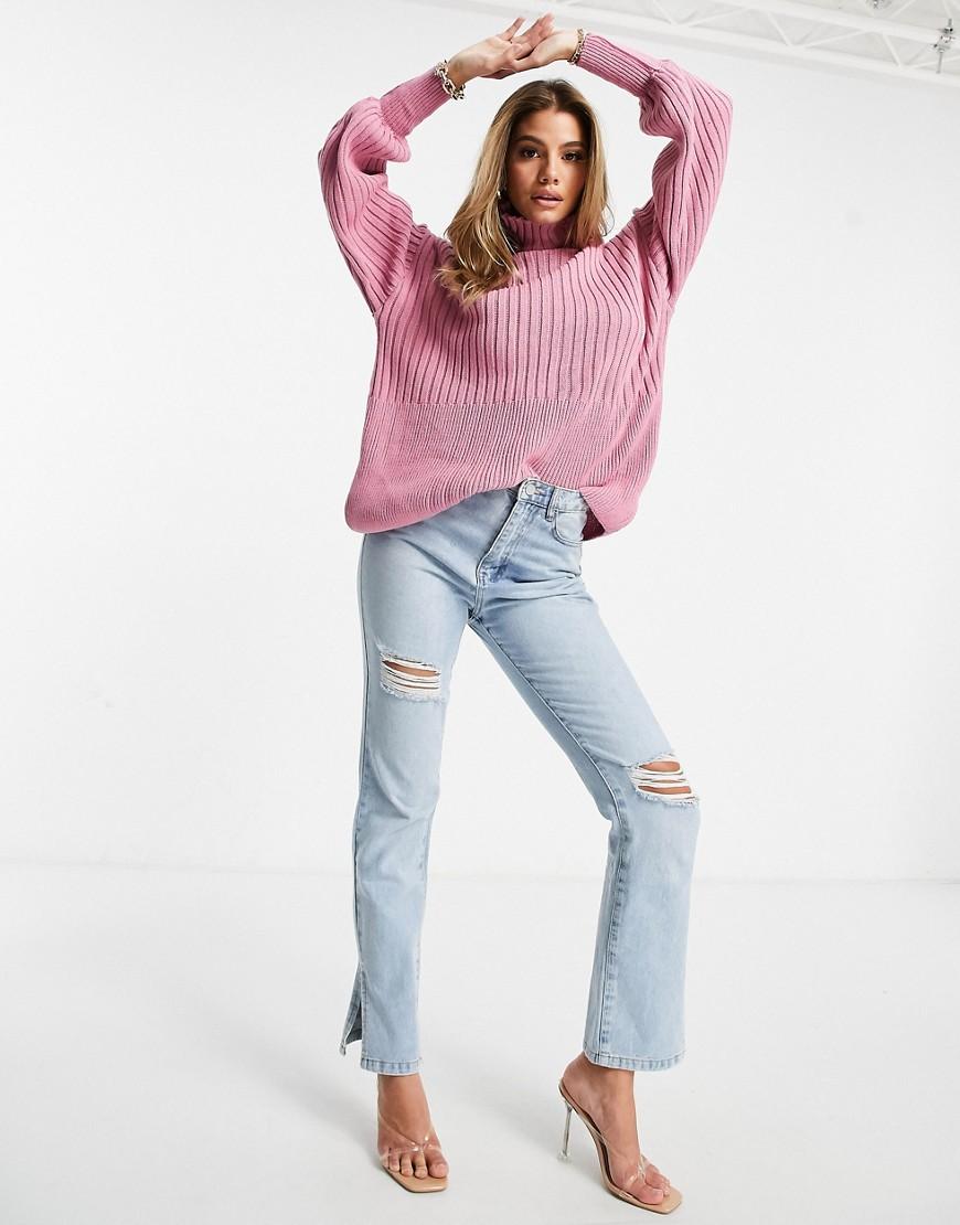 Rosa donna Maglione lavorato con maniche a palloncino rosa - I Saw It First moda abbigliamento - immagine 2