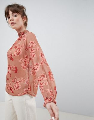 Ichi Floral High Neck Blouse