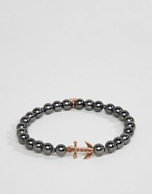 Icon Brand beaded bracelet with anchor charm in gunmetal