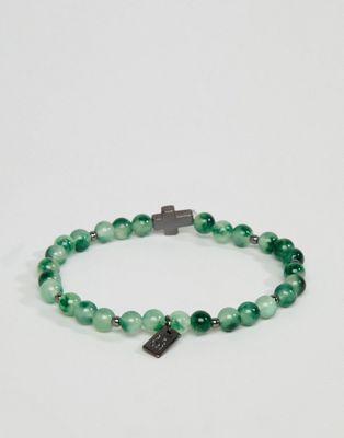 Icon Brand - Braccialetto verde con perline e ciondolo a croce