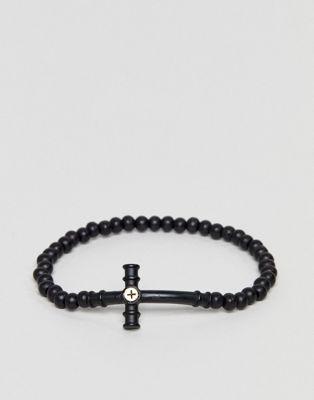 Icon Brand - Bracelet de perles à pendentif croix - Noir