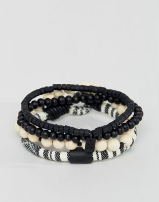 Image 1 of Icon Brand cream & black beaded & cord bracelets in 3 pack