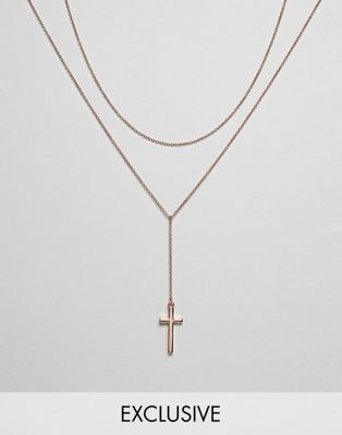 Image 1 of Icon Brand cross & chain necklace in rose gold exclusive to asos