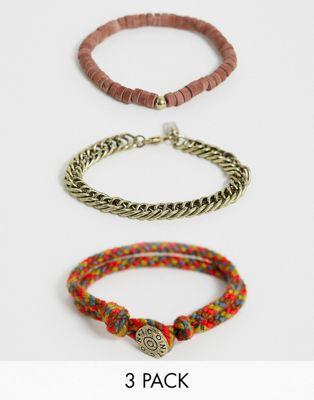 Image 1 sur Icon Brand - Lot de bracelets - Marron