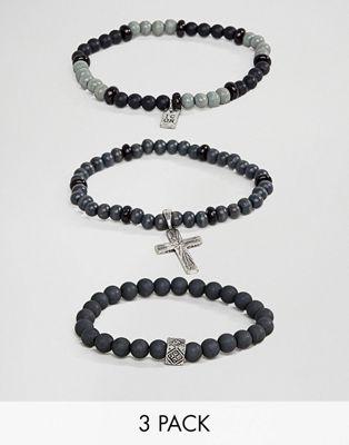 Icon Brand - Set van 3 armbanden met kralen en kruisje in zwart